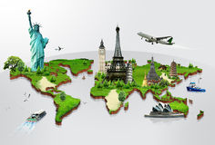 Travel the world. By airplane concept royalty free stock images