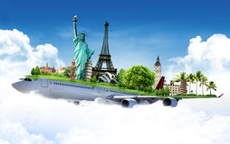 Travel the world. Background concept by airplane royalty free stock photo