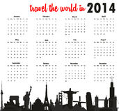 Travel the world in 2014 calendar. Vector illustration background royalty free illustration
