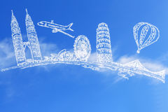 Travel the world and cloud. On blue sky background Royalty Free Stock Image