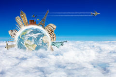 Travel the world clouds concept Stock Photos