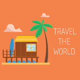 Travel the world concept. Bungalow on the beach Stock Photo