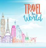 Travel The World Concept Design Background of Line Drawing Stock Photography