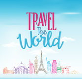 Travel The World Concept Design Background of Line Drawing Royalty Free Stock Images