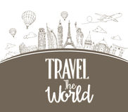 Travel The World Design Background of Line Drawing Royalty Free Stock Photos