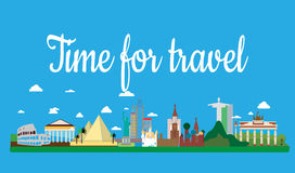 Travel on the world flat vector illustration. Text time to travel. Sights of different cities royalty free illustration
