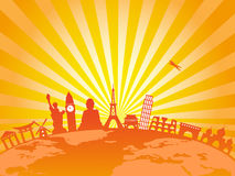 Travel the world on golden sunburst background Stock Photo