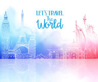 Travel The World Hand Drawing with Famous Landmarks. And Places in Colorful Watercolor Background with Reflection. Vector Illustration stock illustration