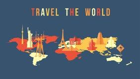 Travel the world paper cut landmark map design vector illustration