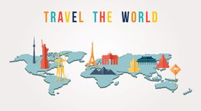 Travel the world paper cut monument map design royalty free illustration