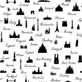 Travel world landmarks tile pattern. Travel sight icon set. Travel world landmarks seamless pattern. Travel sight icon tile background stock illustration