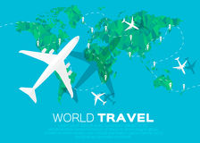 Travel World map background in polygonal styl Stock Image