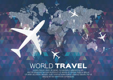 Travel World map background. In polygonal style bacground with top view airplane. Vector illustration design vector illustration