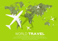 Travel World map background in polygonal style. With top view airplane. Vector illustration design vector illustration