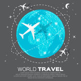 Travel World map. Background in polygonal style with top view airplane. Vector illustration design vector illustration