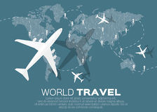 Travel World map. Background in polygonal style with top view airplane. Vector illustration design royalty free illustration