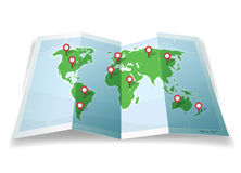 Travel World Map With GPS Pins Stock Photos