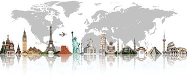 Travel the world monument concept royalty free illustration
