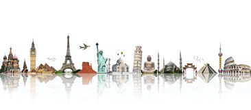 Travel the world monument concept Royalty Free Stock Photos