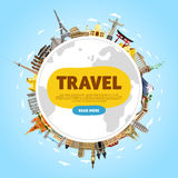 Travel the world. Monument concept. Road trip. Stock Images