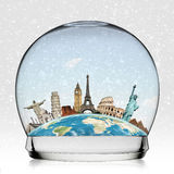 Travel the world monument snowball concept. Famous monuments of the world in a snowball Royalty Free Stock Images