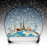 Travel the world monument snowball concept Stock Photos