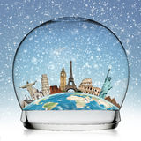 Travel the world monument snowball concept Stock Images
