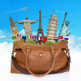 Travel the world monuments bag concept Stock Photo