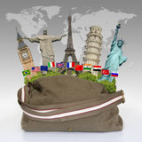 Travel the world monuments bag concept Royalty Free Stock Photography