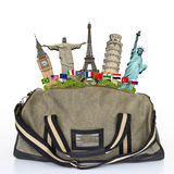 Travel the world monuments bag concept Royalty Free Stock Photo