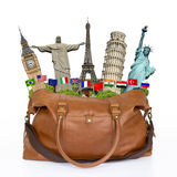 Travel the world monuments bag concept Royalty Free Stock Photos
