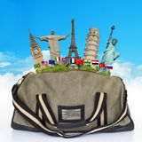 Travel the world monuments bag concept Stock Photos