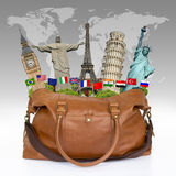 Travel the world monuments bag concept Royalty Free Stock Images