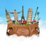 Travel the world monuments bag concept Stock Photography