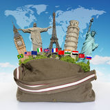 Travel the world monuments bag concept Stock Images