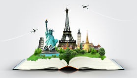 Book of travel. Travel the world monuments concept Royalty Free Stock Photography