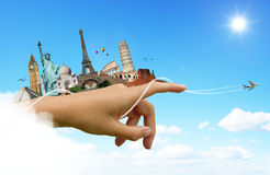 Travel the world monuments concept. Famous monuments of the world travel concept vector illustration