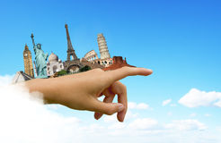 Travel the world monuments concept. Famous monuments of the world travel concept stock illustration