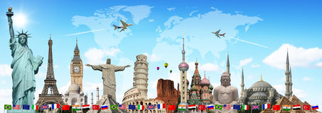 Travel the world monuments concept. Famous monuments of the world illustrating the travel and holidays