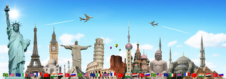 Travel the world monuments concept. Famous monuments of the world illustrating the travel and holidays vector illustration