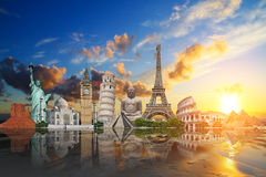 Travel the world monuments concept Stock Photo