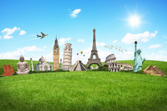 Travel the world monuments concept Stock Image