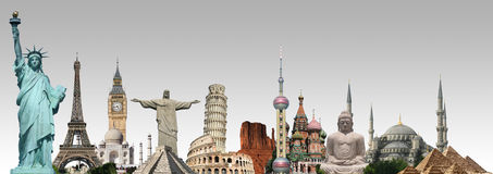 Travel the world monuments concept stock illustration