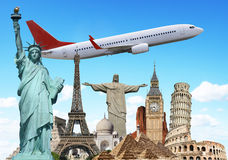 Travel the world monuments plane concept Royalty Free Stock Images