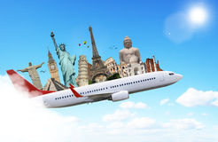Travel the world monuments plane concept Royalty Free Stock Photography