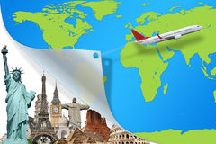 Travel the world monuments plane concept Stock Image