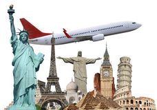 Travel the world monuments plane concept Royalty Free Stock Image