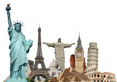 Travel the world monuments plane concept Royalty Free Stock Photo