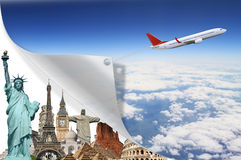 Travel the world monuments plane concept Stock Photography
