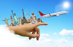 Travel the world monuments plane concept Stock Photo